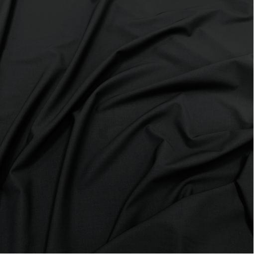 Ткань костюмная шерстяная плотная черного цвета с отливом