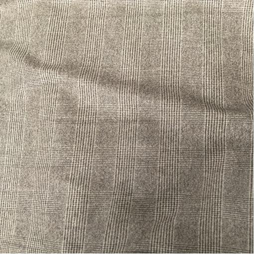 Ткань костюмная шерстяная крупная серо-бежевая клетка