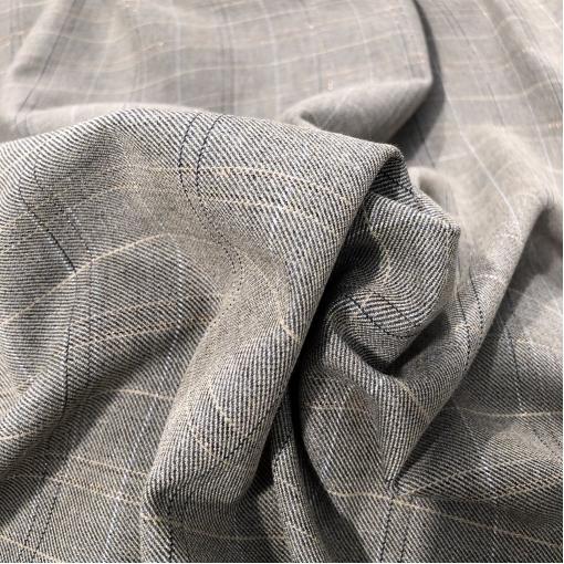 Шерсть костюмная тонкая стрейч Gucci клетка на серо-бежевом фоне с элегантной люресковой нитью