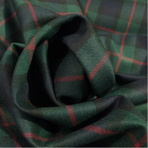 Ткань костюмная шерстяная дизайн Christian Dior  темно-зеленая клетка