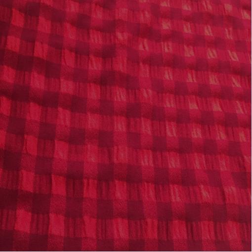 Ткань костюмная теплая крэш дизайн Prada красно-бордовая клетка