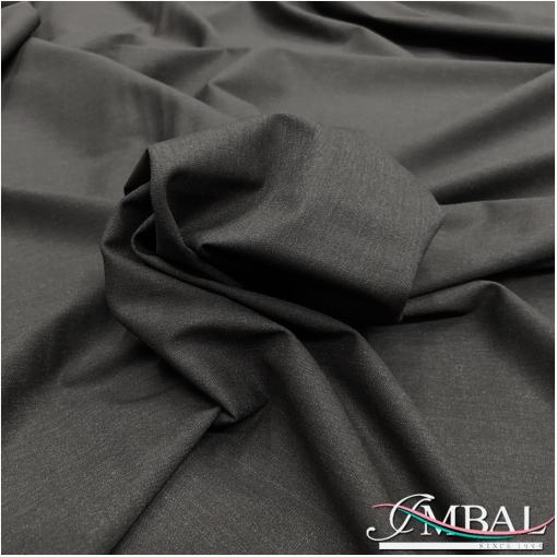 Ткань костюмная шерстяная стрейч темно-серого цвета легкий меланж