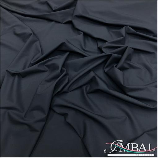 Ткань костюмная шерстяная стрейч черно-синего цвета