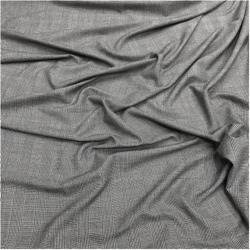 Ткань костюмная шерстяная стрейч серо-черная клетка пье-де-пуль