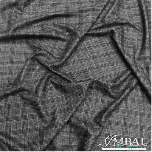 Ткань костюмная шерстяная стрейч темно-серая клетка
