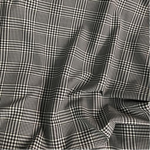 Ткань костюмная шерстяная Burberry клетка пье-де-пуль черно-молочного цвета