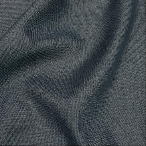 Лен костюмный рогожка серо-синего цвета с напылением