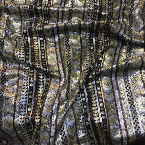 Сетка нарядная Valentino с мелкими серебристыми и золотистыми пайетками