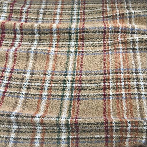Ткань пальтовая принт Burberry буклированная бежево-красная клетка