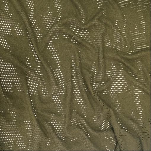 Трикотаж шерстяной плотный с перфорацией темно-оливкового цета