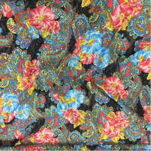 Кружево мягкое стрейч принт ETRO огурцы и цветы