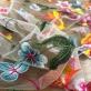Кружево на сетке вышитое Blumarine цветы и вьюны в розово-голубой гамме