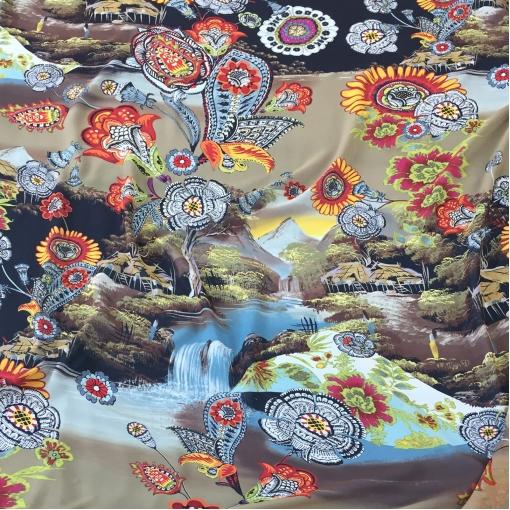 Шелк шифон принт Kenzo цветы и пейзаж