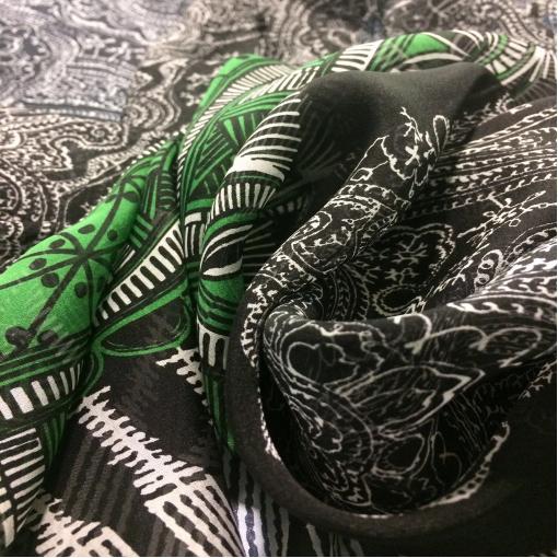 Шелк шифон принт купон огурцы и зеленый орнамент
