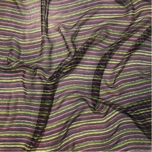 Шелковый шифон принт Missoni полосы на баклажанно-черном фоне