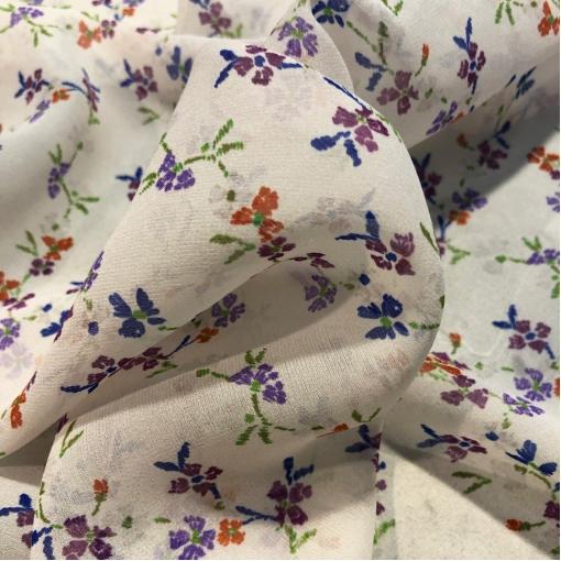 Шелковый шифон принт Blumarine мелкие цветочки на молочном фоне