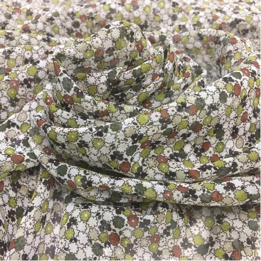 Шелк шифон принт мелкие оливковые, бордовые и белые цветочки