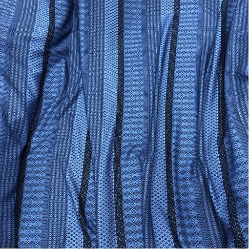 Вискоза плательная принт Prada геометрия и полосы на васильково-голубом фоне