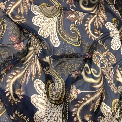 Муслин вискоза с шелком принт ETRO вензеля и цветы на темно-синем фоне