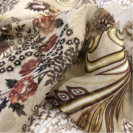 Муслин вискоза с шелком принт ETRO вензеля и цветы на бисквитном фоне