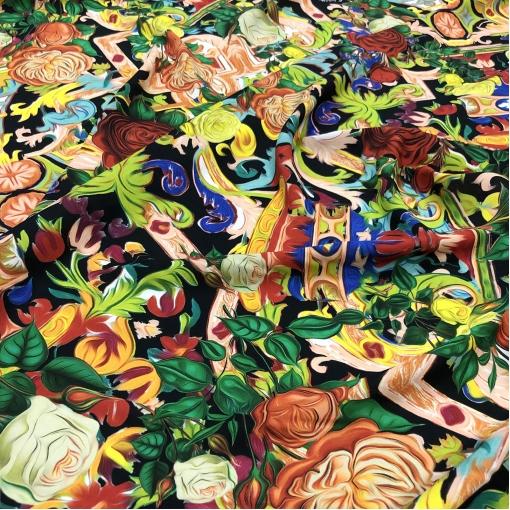 Вискоза креповая стрейч принт A'biddikkia мозаика и розы