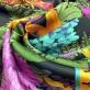 Вискоза плательная атласная продольный цветочный купон на темном фоне