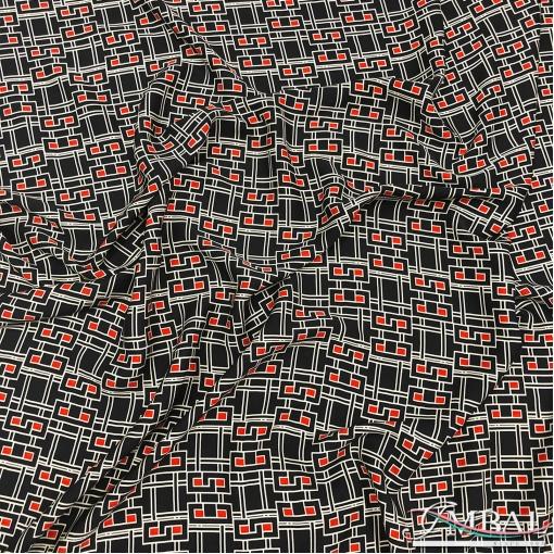 Вискоза штапель дизайн Prada геометрия и оранжевые клетки