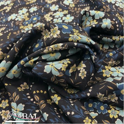Вискоза плательная принт Gai Mattiolo бирюзовые цветочки на черном фоне