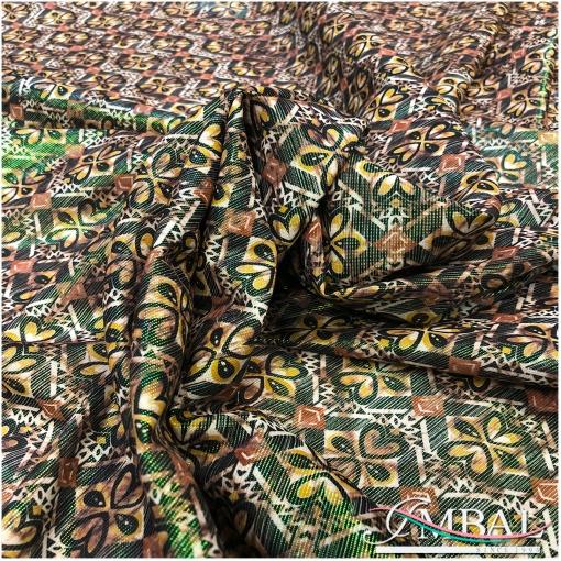 Вискоза нарядная плательная Ratti орнамент с эффектом металлик в охристо-зеленых тонах