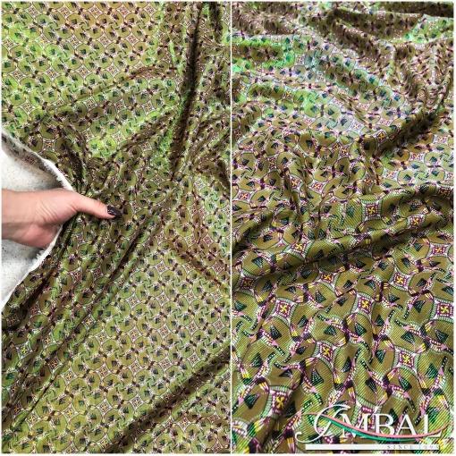 Вискоза нарядная плательная Ratti орнамент с эффектом металлик в оливково-зеленых тонах