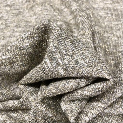 Трикотаж вискозный нарядный стрейч меланж с люрексом золотисто-серого цвета