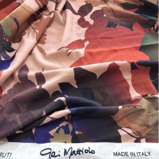 Трикотаж вискозный стрейч принт Gai Mattiolo абстрактные цветы на пудровом фоне