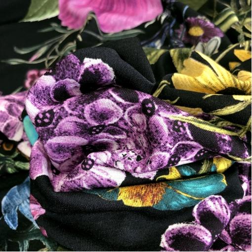 Трикотаж вискозный стрейч принт Gai Mattiolo цветочное ассорти на черном фоне