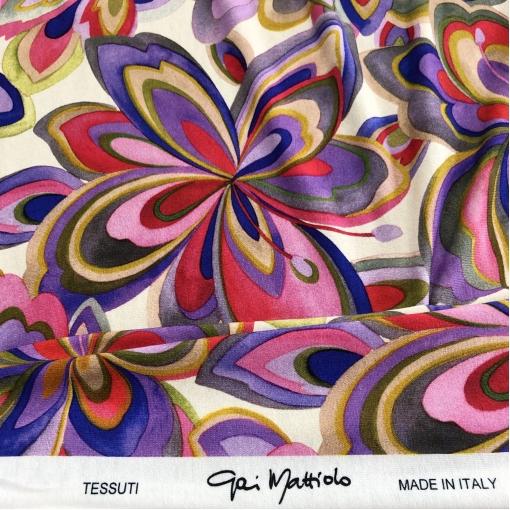 Трикотаж вискозный стрейч принт Gai Mattiolo абстрактные цветы на молочном фоне