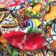 Трикотаж вискозный скользкий стрейч принт A'biddikkia мозаика и гибискусы