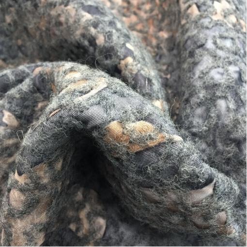 Ткань курточная двухсторонняя с лоденом Sportmax абстракция в песочно-серой гамме