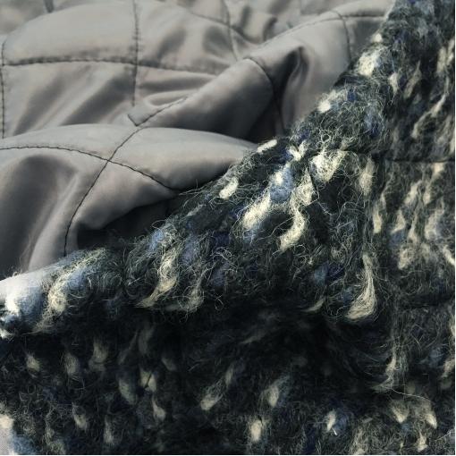 Ткань курточная двухсторонняя с лоденом Sportmax геометрия в серо-сине-черных тонах