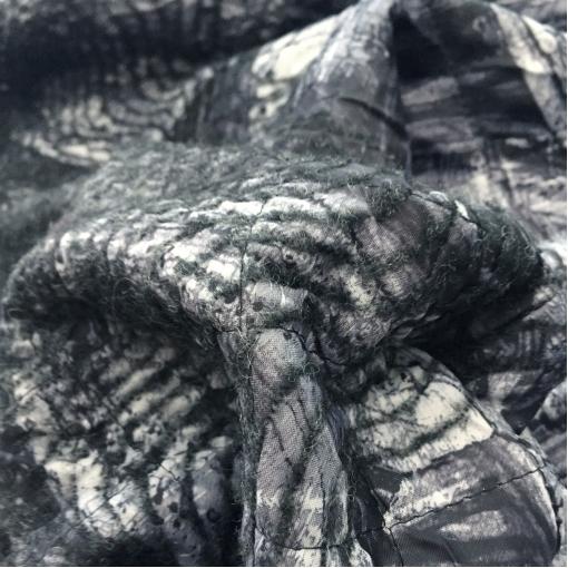 Ткань курточная двухсторонняя с лоденом Sportmax купон геометрия в серо-черной гамме