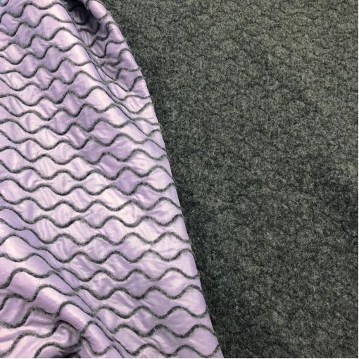 Ткань курточная двухсторонняя с лоденом Sportmax орнамент на сиреневом фоне