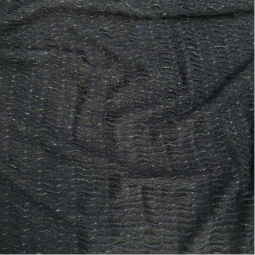 Трикотаж шерстяной Burberry сине-черные цветы объемной вязки