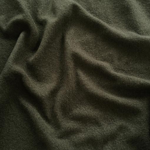Лоден шерстяной стрейч темно-зеленого цвета
