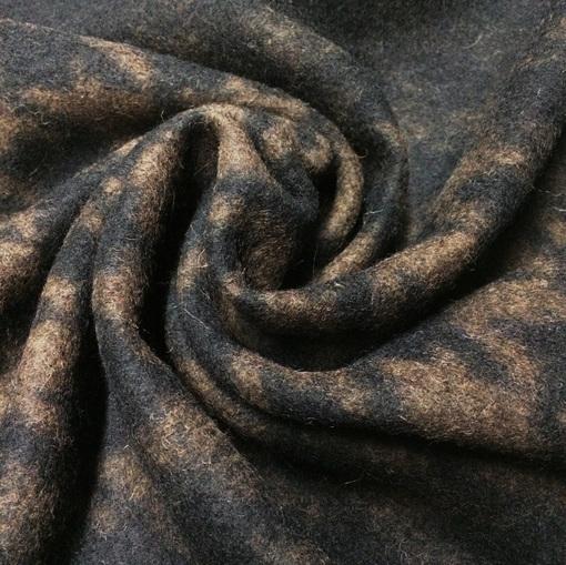Трикотаж шерстяной черно-коричневый пье-де-пуль