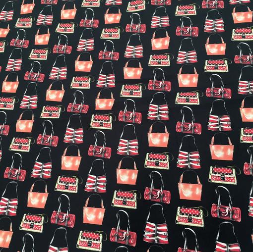 """Хлопок стрейч Lanvin плотный """"Дамские сумочки"""" на чёрном фоне"""