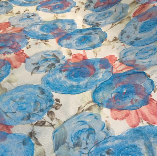 Жаккард цветы в синих тонах принт Aquilano Rimondi