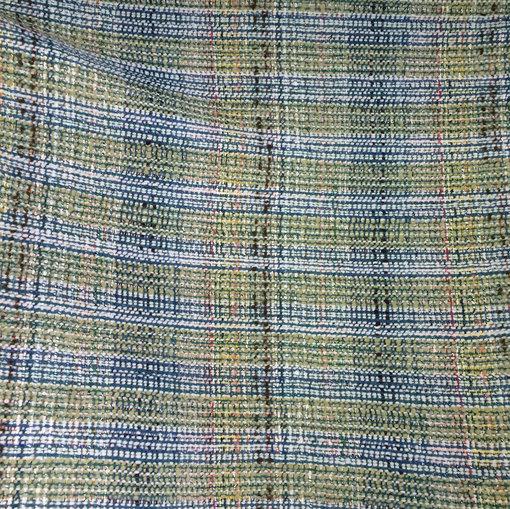 Шанель костюмно-пальтовая оливково-голубого цвета с люрексом