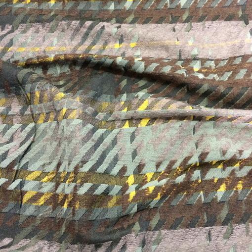 Жаккард нарядный с мохером в серо-оливковых тонах