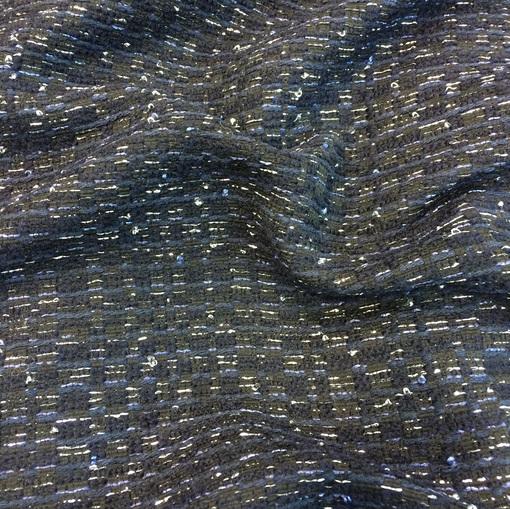 Шанель черная с серебряным люрексом и синей нитью