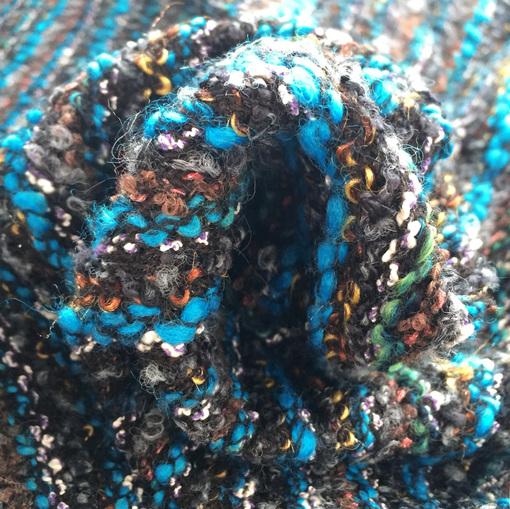 Шанель шерстяная букле в бирюзово-коричневых тонах