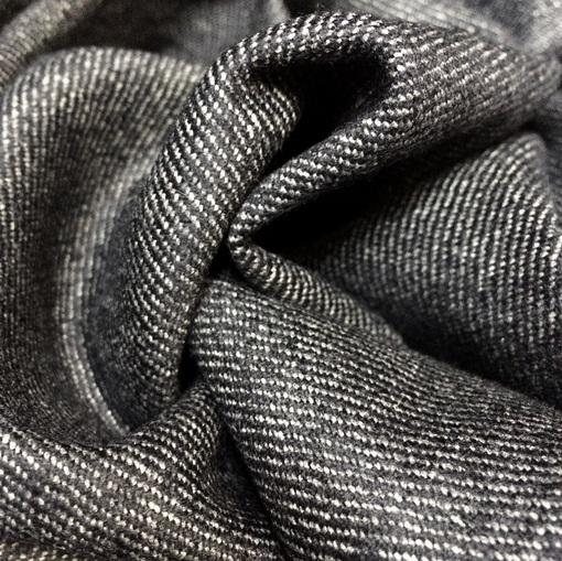 """Твид костюмно-пальтовый шерстяной """"диагональ"""" сине-серого цвета под джинсу"""