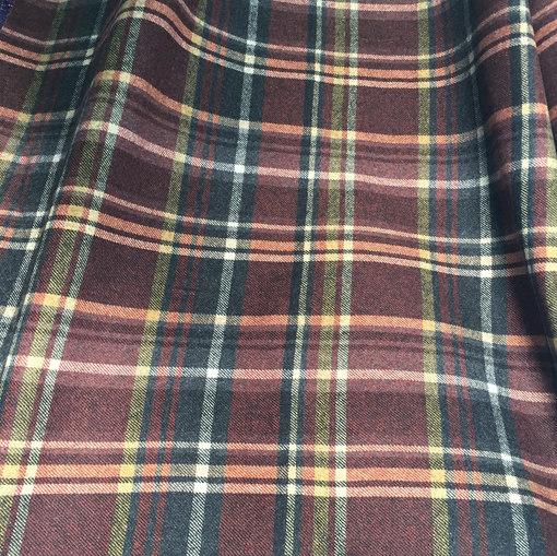 Ткань костюмно-пальтовая в бордово-горчичную клетку